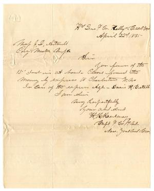 Primary view of object titled '[Letter from Hamilton K. Redway to J. D. Artmill, April 22, 1865]'.