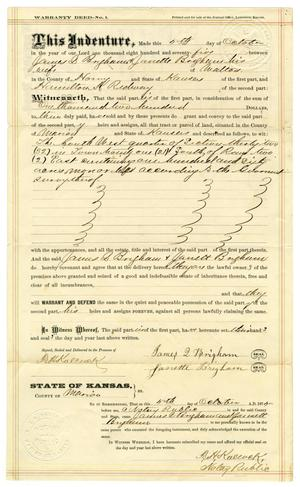 Primary view of object titled '[Warranty deed, October 5, 1875]'.
