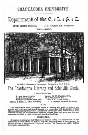 Primary view of object titled '[Chautauqua University: The Chautauqua Literary and Scientific Circle, 1885-1886]'.