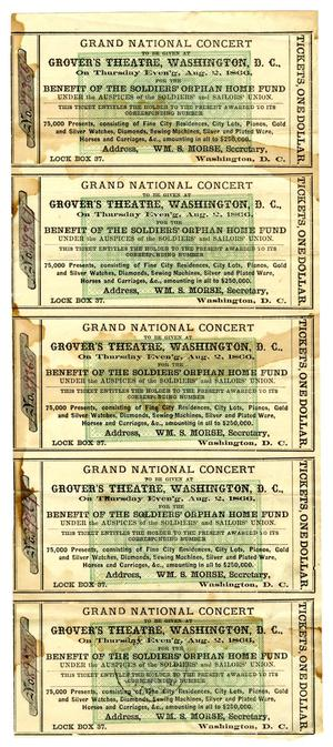 Primary view of object titled '[Tickets for the Grand National Concert, August 2, 1866]'.