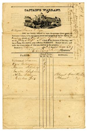 Primary view of [Captain's Warrant, August 25, 1829]