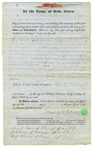 Primary view of object titled '[Last Will and Testament of Chauncey H. Redway, November 7, 1854]'.