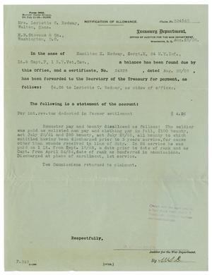 Primary view of object titled '[Notification of Allowance, August 25, 1908]'.