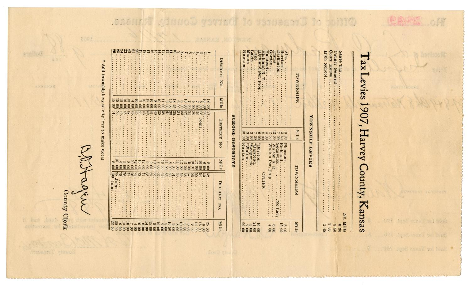 [Tax receipt for 1907, December 16, 1907]                                                                                                      [Sequence #]: 2 of 2