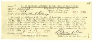 Primary view of object titled '[Pension notification, November 4, 1916]'.
