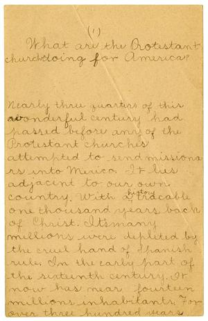 Primary view of object titled '[Report of missionary work in Mexico]'.