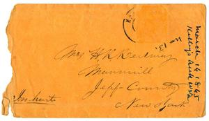 Primary view of object titled '[Envelope, March 14, 1865]'.