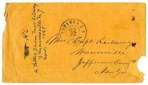 Primary view of object titled '[Envelope originally addressed to Loriette C. Redway, 1866]'.