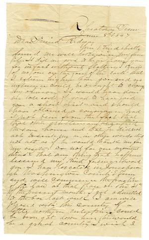 Primary view of object titled '[Letter from O. G. Bacon to Hamilton K. Redway, June 8, 1864]'.