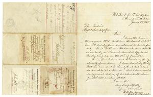 Primary view of object titled '[Letter from H. K. Redway, Capt. F. Co. 1st Vet. N.Y. Cav., June 25, 1865]'.