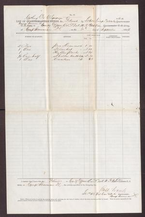 Primary view of object titled '[List of clothing, camp, and garrison equipage, September 30, 1864]'.