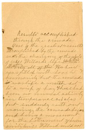 Primary view of object titled '[Results accomplished through the Crusade one,undated]'.