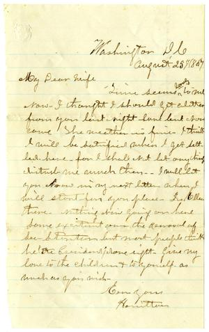 Primary view of [Letter from Hamilton K. Redway to Loriette Redway, August 25, 1867]