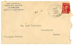 Primary view of object titled '[Envelope from Emmett Patton to Levi Perryman, September 20, 1908]'.