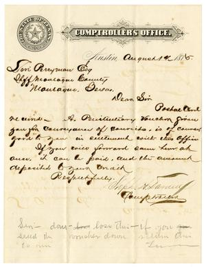 Primary view of object titled '[Letter from Comptroller of Public Accounts Stephen H. Darden to Levi Perryman, August 14, 1875]'.
