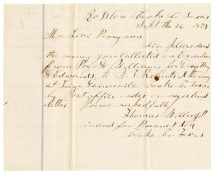 Primary view of [Letter from Thomas Willis, J. P. to Levi Perryman, September 26, 1879]