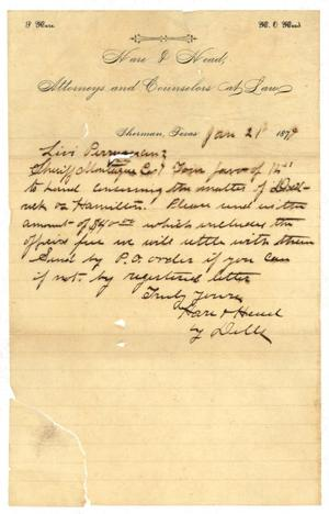 Primary view of object titled '[Letter from L. Dills  to Levi Perryman, January 21, 1879]'.