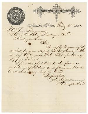 Primary view of object titled '[Letter from Stephen H. Dardeux to Levi Perryman, February 2, 1880]'.