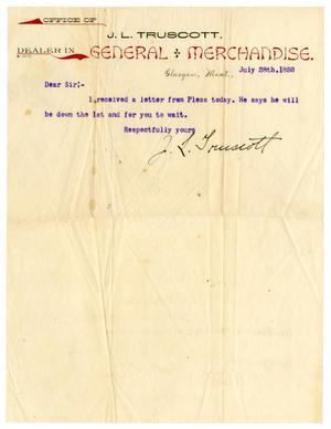 Primary view of [Letter from J. L. Truscott, July 28, 1893]