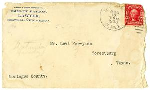 Primary view of object titled '[Envelope from Emmett Patton to Levi Perryman, August 17, 1908]'.