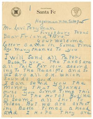 Primary view of object titled '[Letter from E. W. Powell to Levi Perryman, September 7, 1915]'.