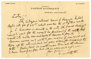 Primary view of object titled '[Letter from Emmett Patton to Levi Perryman]'.