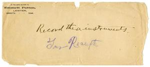 Primary view of object titled '[Envelope for letter from Emmett Patton]'.