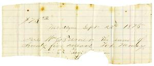 Primary view of object titled '[Notice of Taxes Owed, September 22, 1875]'.