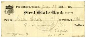 Primary view of object titled '[Check from Mrs. H.B. Caddell to Willie Orwell, July 25, 1921]'.