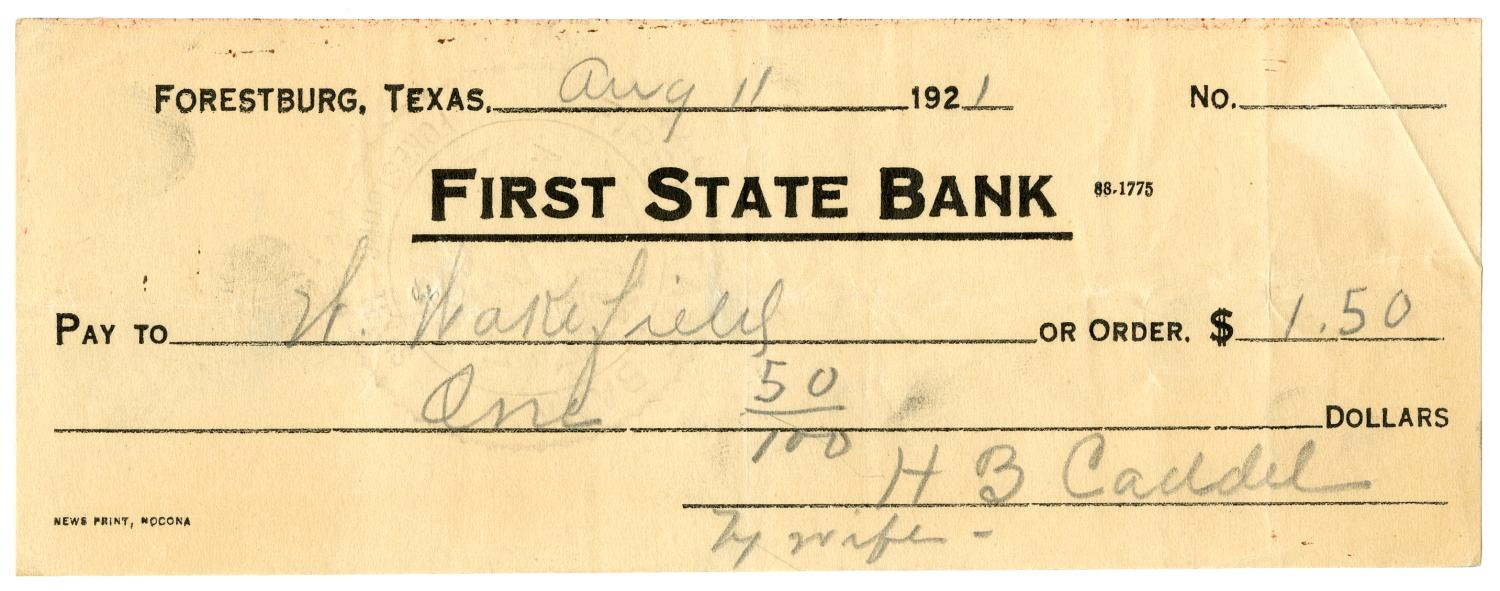 [Check from Mrs. H. B. Caddell to H. Wakefield, August 11, 1921]                                                                                                      [Sequence #]: 1 of 2
