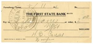 Primary view of object titled '[Check from Mrs. H. B. Caddell to J. M. Jones, August 11, 1921]'.