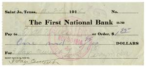 Primary view of object titled '[Check from Levi Perryman to T.A Wiley, November 21, 1914]'.