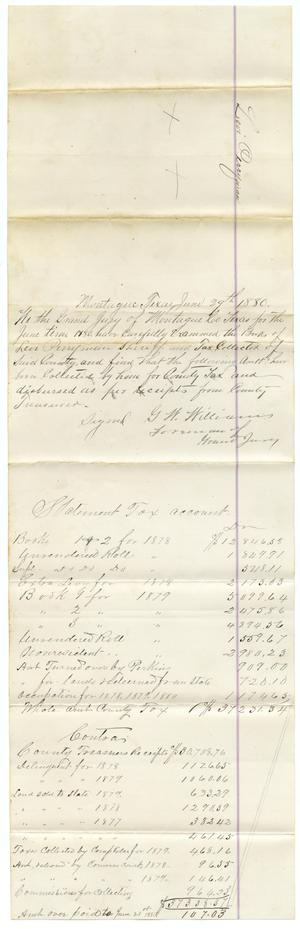 Primary view of [Statement of Account, June 29, 1880]