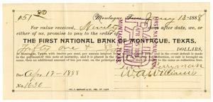 Primary view of object titled '[Promissory Note from the First National Bank of Montague, Texas, January 13, 1888]'.