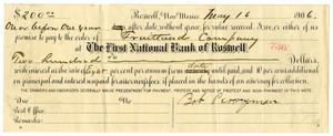 Primary view of [Promissory Note for Bob Perryman, May 16, 1906]