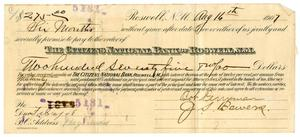 Primary view of [Bank Note for Bob Perryman and J.S. Bowers, August 16, 1907]