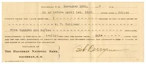 Primary view of [Check from Bob Perryman to W.T. Holiday, November 12, 1907]