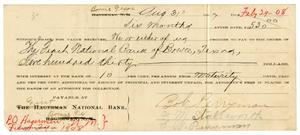 Primary view of [Bank Note for Bob Perryman, August 31, 1907]