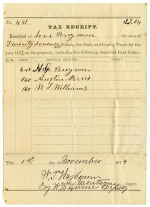 Primary view of [Tax Receipt for Levi Perryman, November 1, 1873]