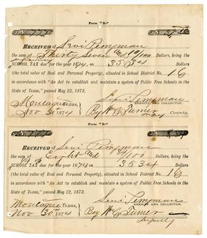 Primary view of [School Tax Receipts for Levi Perryman, November 30, 1874]