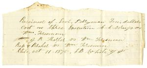 Primary view of [Receipt from Levi Perryman, October 11,1875]