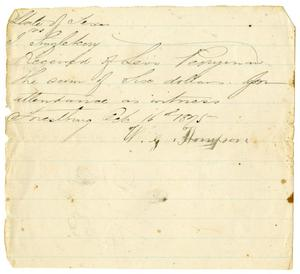 Primary view of object titled '[Receipt of Levi Perryman, October 16, 1875]'.