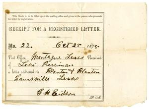 Primary view of object titled '[Receipt of Levi Perryman, October 25, 1875]'.