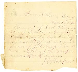 Primary view of [Receipt for G. R. Harper, November 1, 1875]