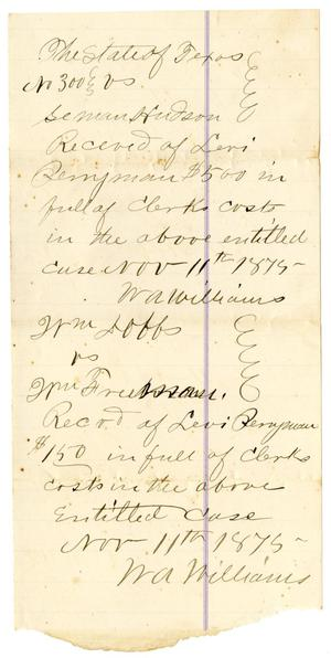 Primary view of [Receipts of Levi Perryman, November 11, 1875]
