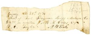 Primary view of [Receipt from M. W. Estes to Levi Perryman, January 28, 1876]