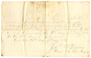 Primary view of object titled '[Receipt from James M. Strong to J.M. Cobb, May 15, 1876]'.