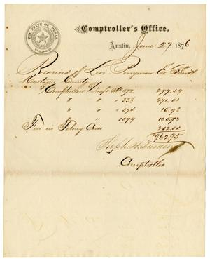 Primary view of object titled '[Receipt from Stepen H. Darden to Levi Perryman, June 27, 1876]'.