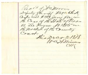 Primary view of [Receipt from W.A. Williams to W.A. Morris, December 2, 1878]