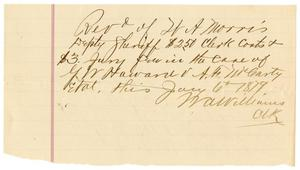 Primary view of object titled '[Receipt from W.A. Williams to W.A. Morris, January 6, 1879]'.